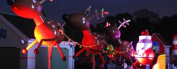 Santa and hos reindeer at Paultons Park