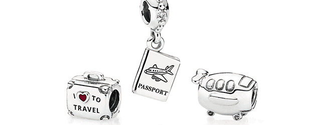Pandora bracelet and travel charms
