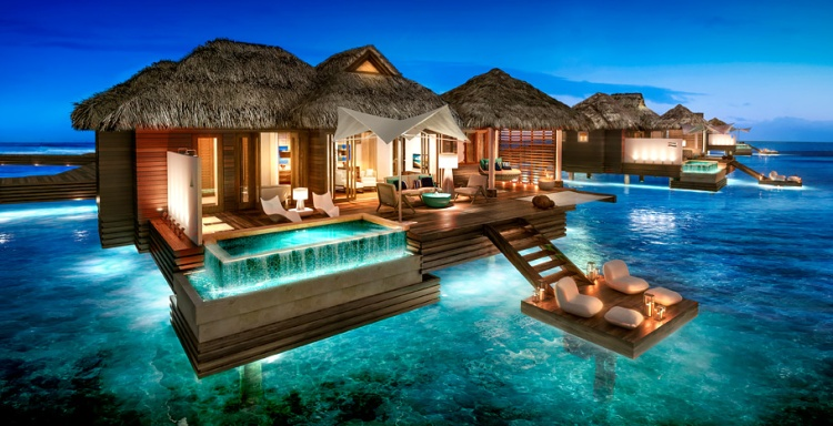 Over the water suites Sandals night