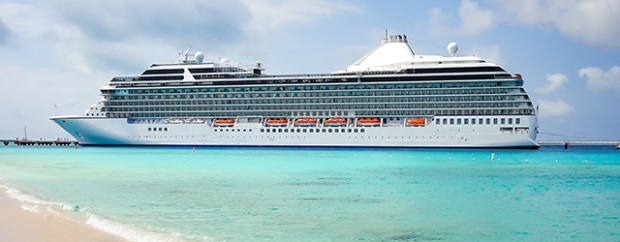 An ocean cruise liner in the Caribbean