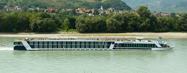 A river cruise ship sailing the Danube River