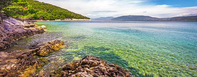 Stone beach scenery in Istria