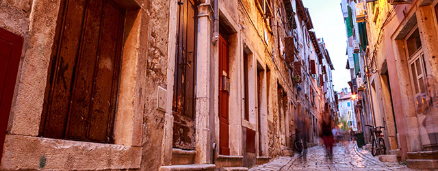 Narrow cobbled streets in Istria